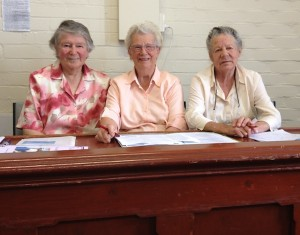 Mrs Gwen Reynolds, Mrs Barbara Kregor and Mrs Catherine Griffiths at the January 2014 meeting of the Historical Society of the Municipality of Sorell Inc.